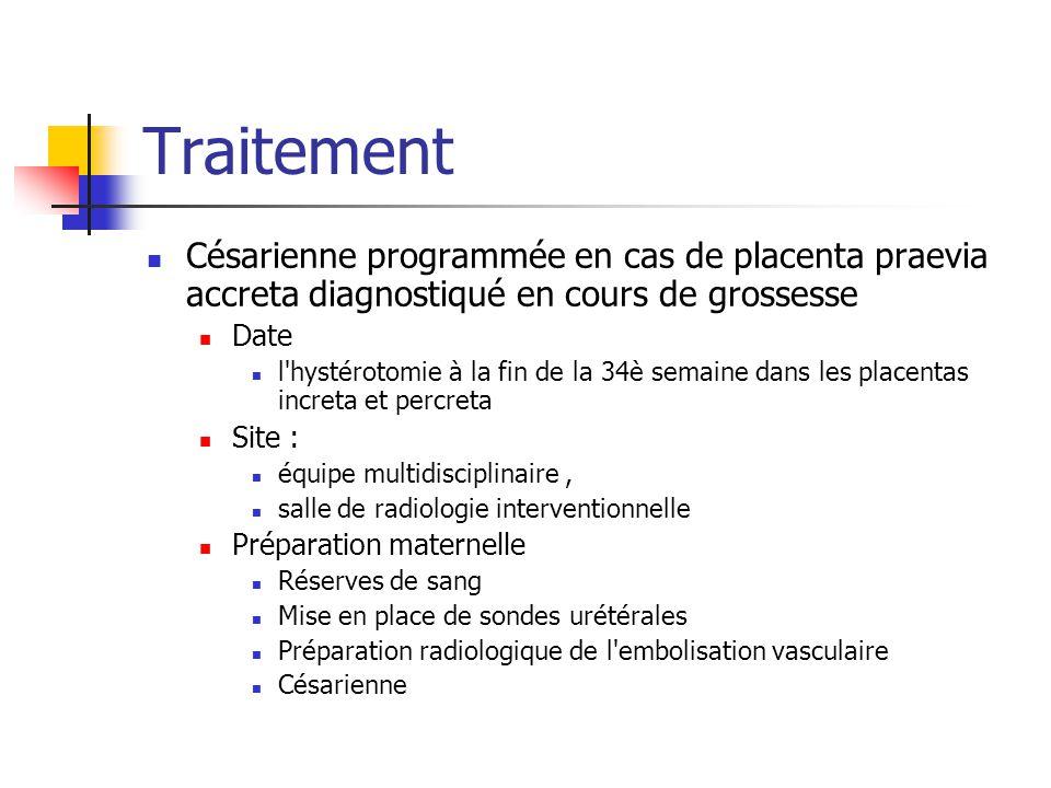 Traitement Césarienne programmée en cas de placenta praevia accreta diagnostiqué en cours de grossesse.