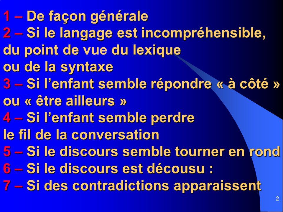 1 – De façon générale 2 – Si le langage est incompréhensible, du point de vue du lexique ou de la syntaxe.