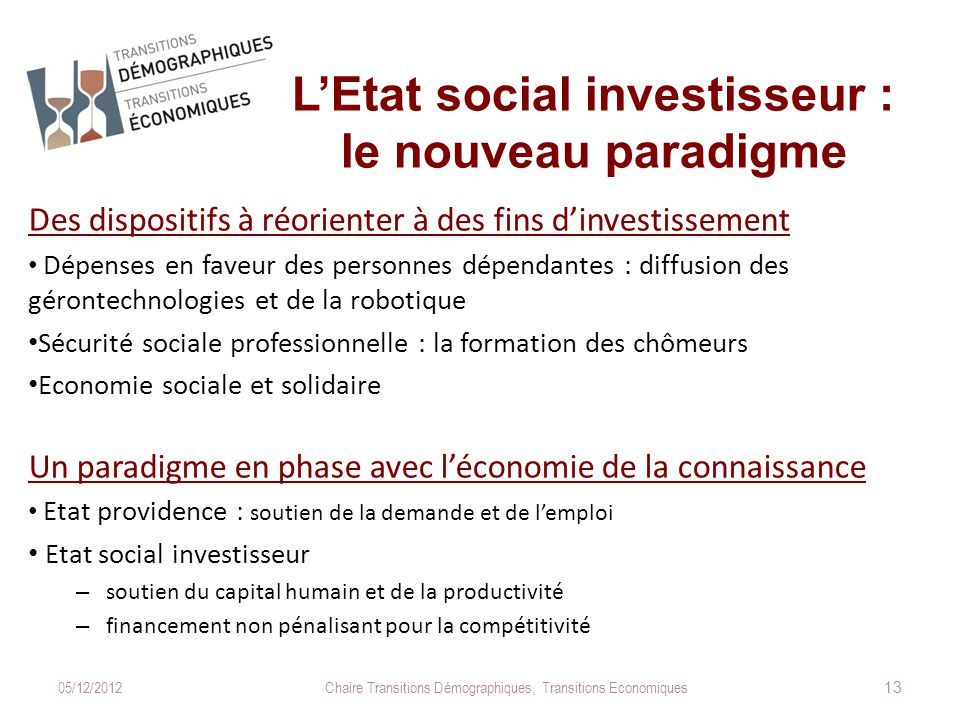 L'Etat social investisseur : le nouveau paradigme