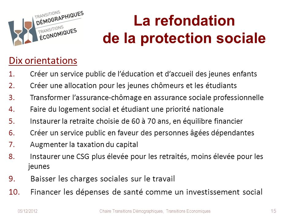La refondation de la protection sociale