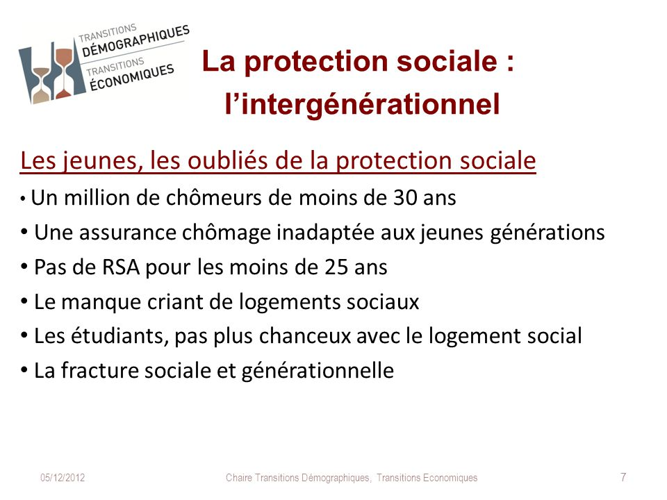 La protection sociale : l'intergénérationnel