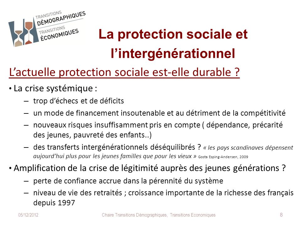 La protection sociale et l'intergénérationnel