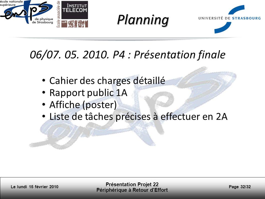 Présentation Projet 22 Périphérique à Retour d Effort