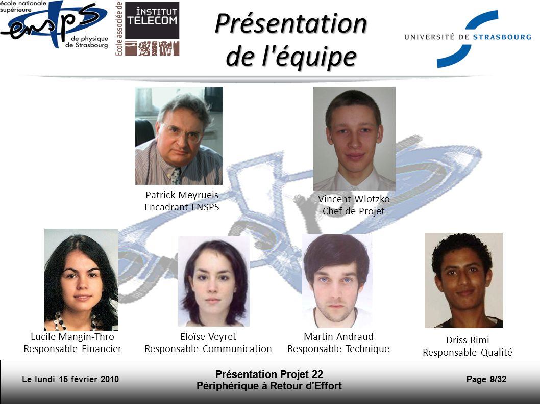 Présentation de l équipe Patrick Meyrueis Encadrant ENSPS