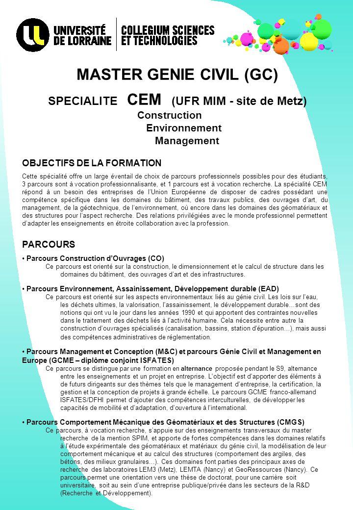 MASTER GENIE CIVIL (GC) SPECIALITE CEM (UFR MIM - site de Metz)