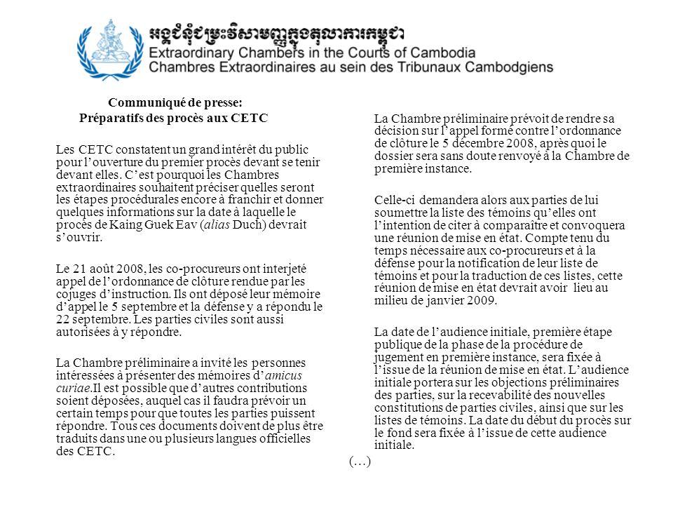 Communiqué de presse: Préparatifs des procès aux CETC.