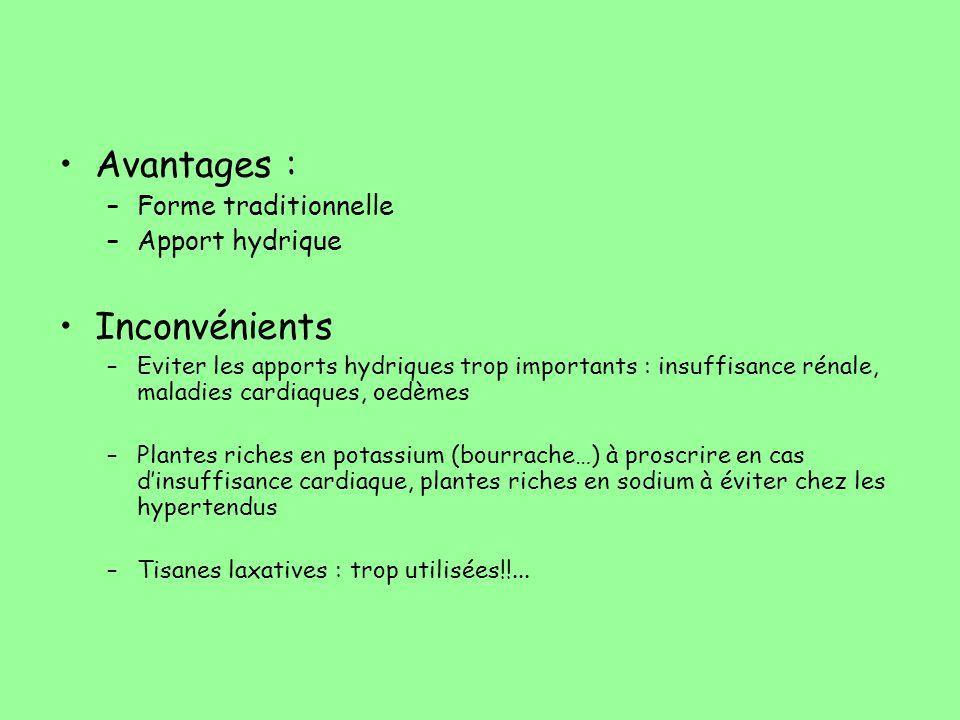 Avantages : Inconvénients Forme traditionnelle Apport hydrique