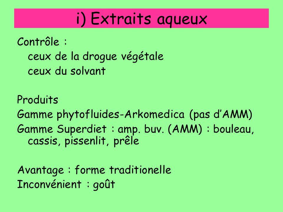 i) Extraits aqueux Contrôle : ceux de la drogue végétale