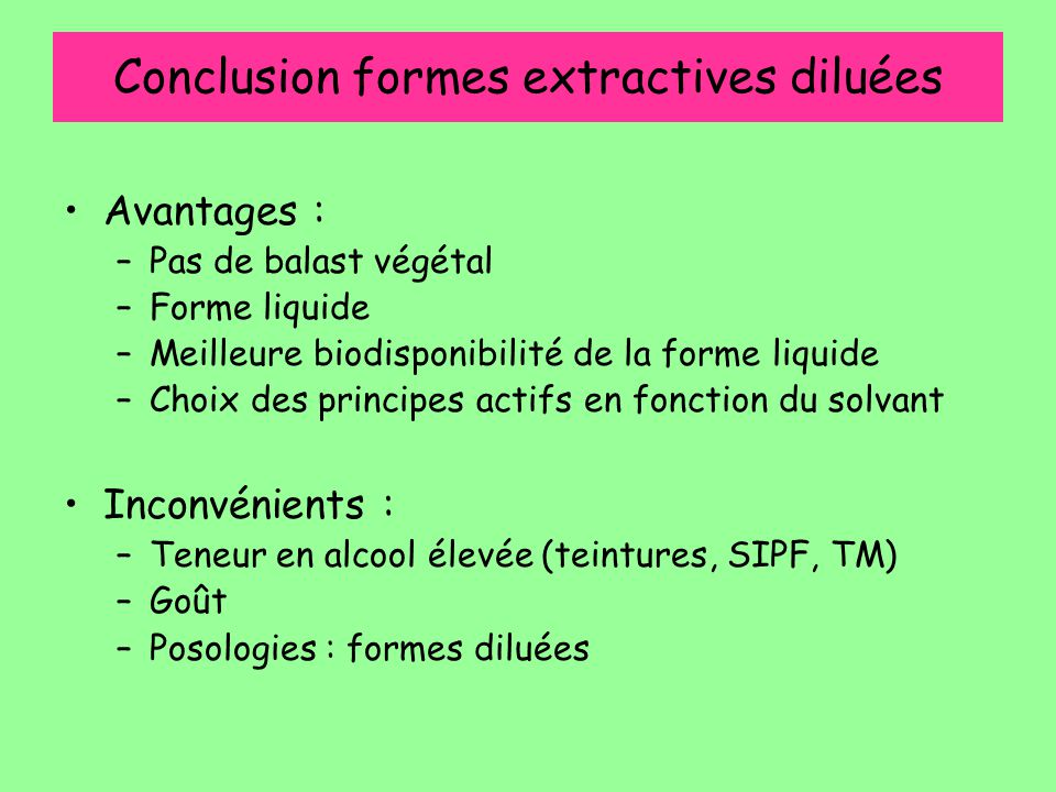 Conclusion formes extractives diluées
