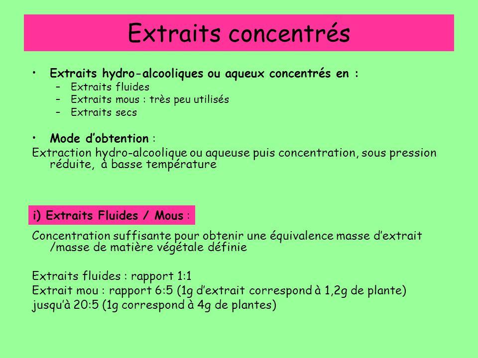Extraits concentrés Extraits hydro-alcooliques ou aqueux concentrés en : Extraits fluides. Extraits mous : très peu utilisés.