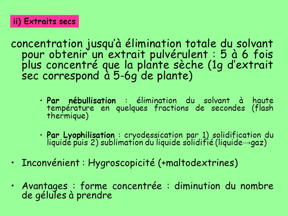 ii) Extraits secs