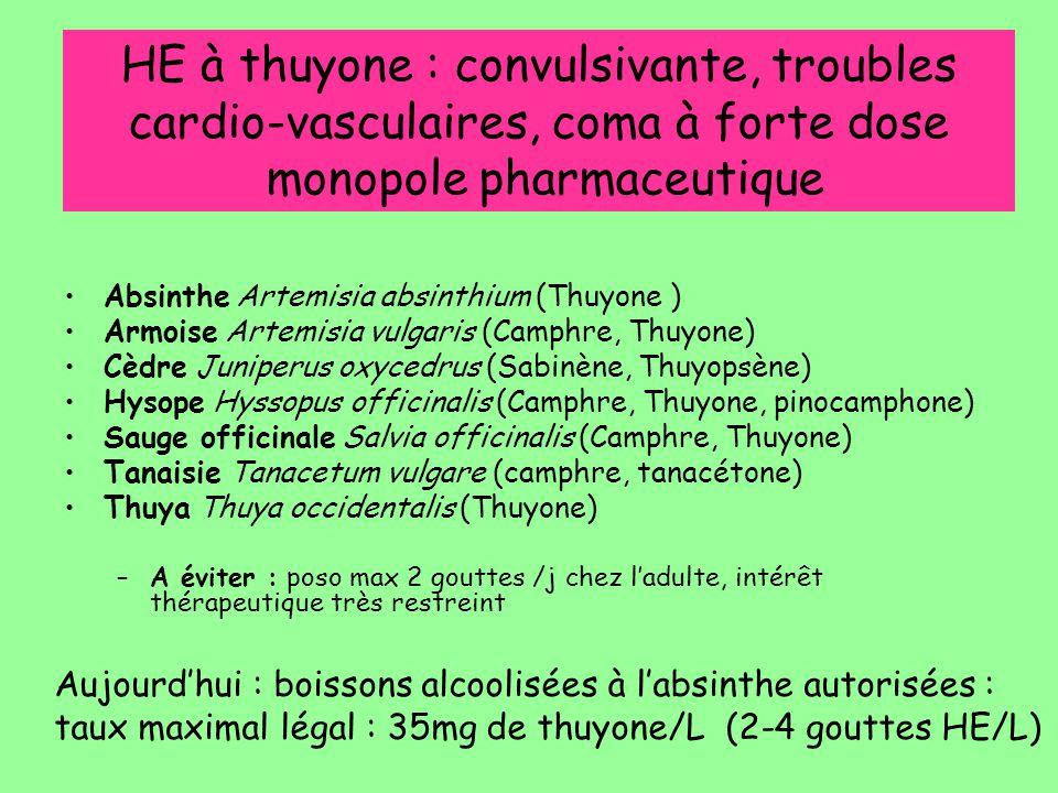 HE à thuyone : convulsivante, troubles cardio-vasculaires, coma à forte dose monopole pharmaceutique