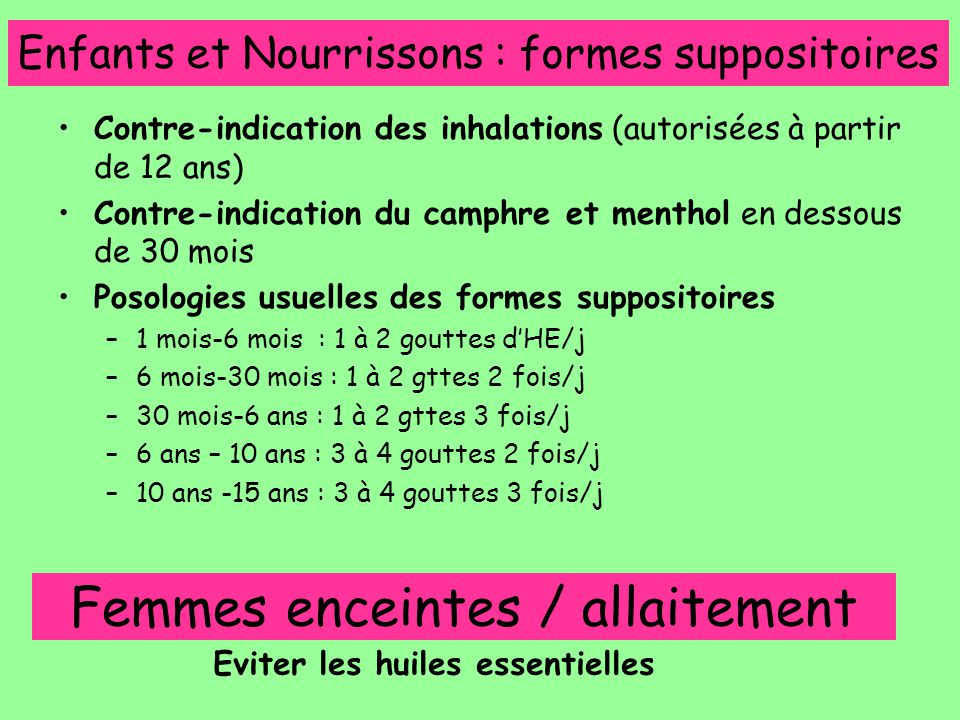 Enfants et Nourrissons : formes suppositoires