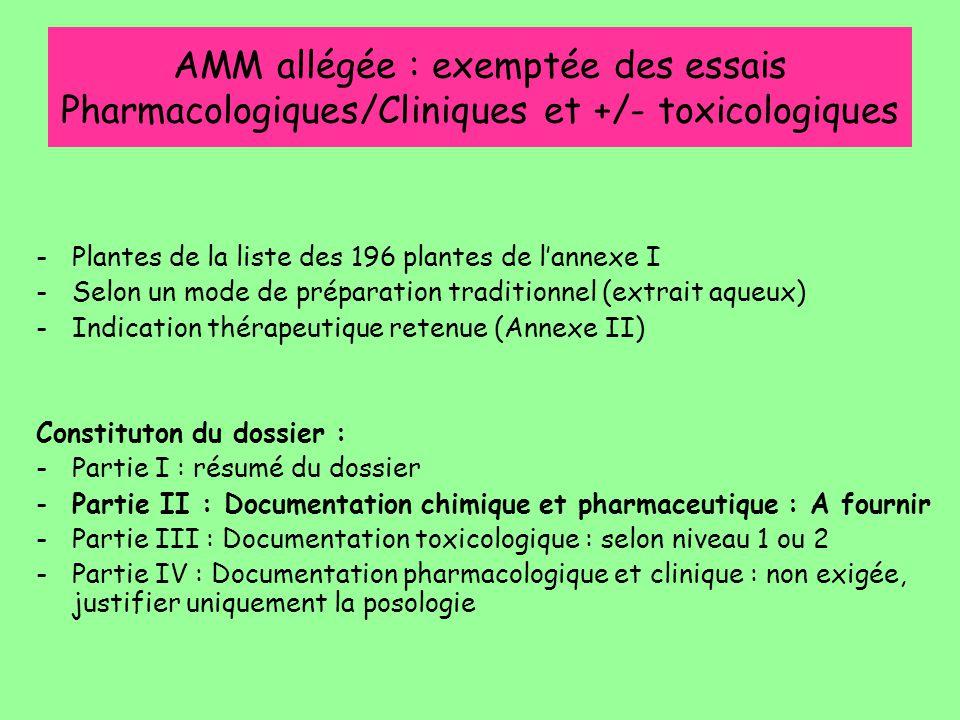 AMM allégée : exemptée des essais Pharmacologiques/Cliniques et +/- toxicologiques