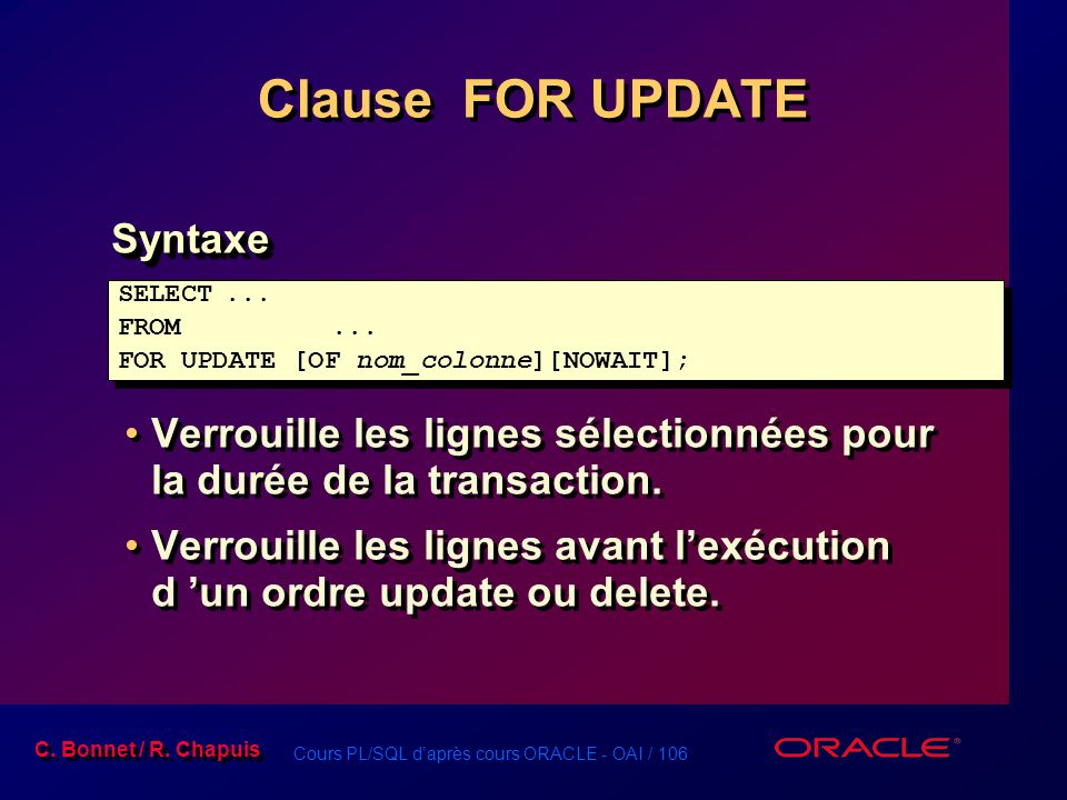 Clause FOR UPDATE Syntaxe