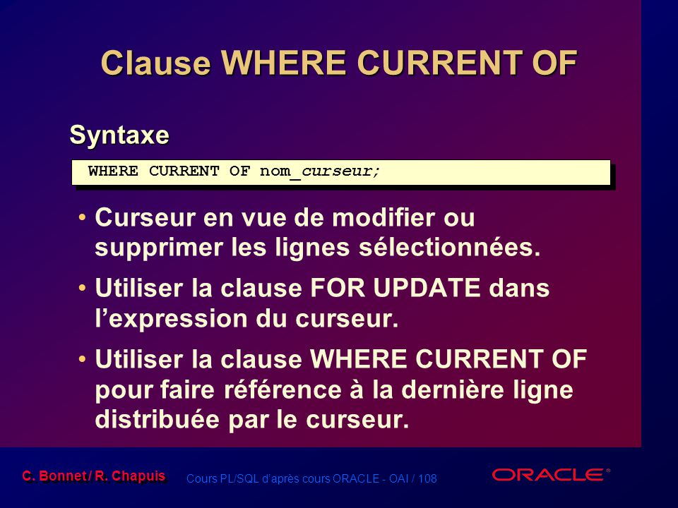 Clause WHERE CURRENT OF
