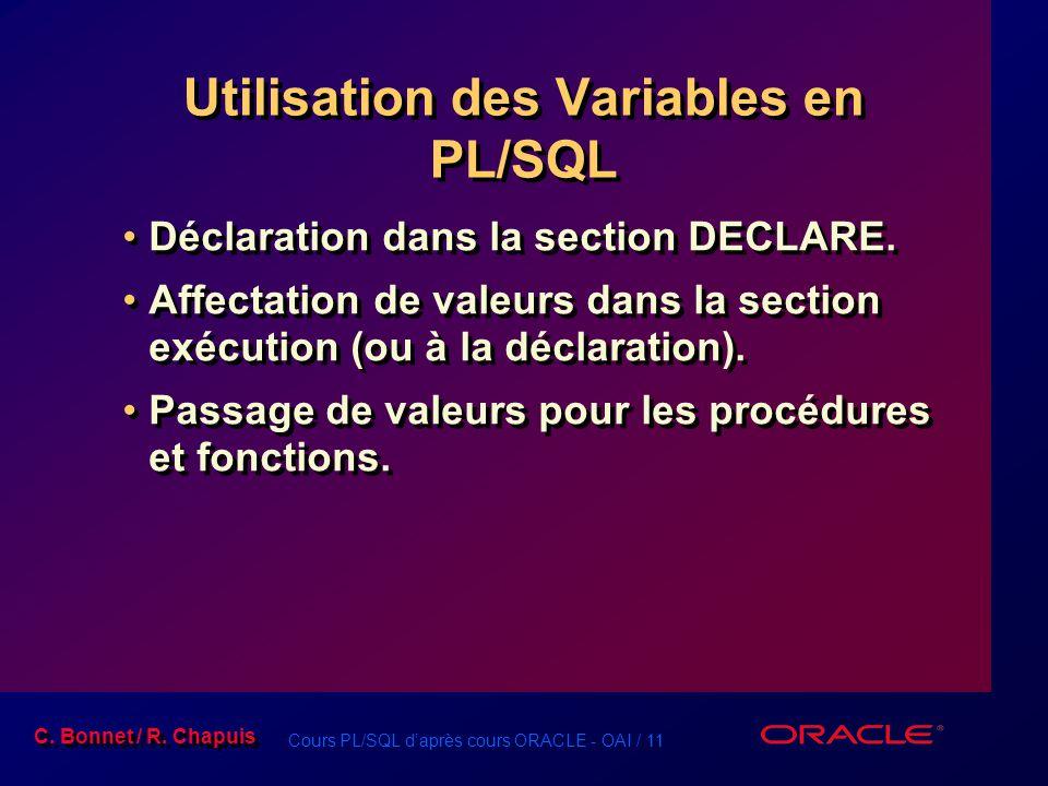 Utilisation des Variables en PL/SQL