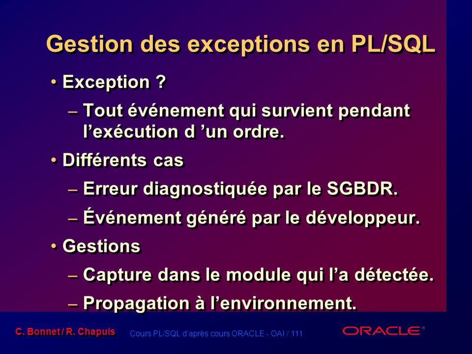 Gestion des exceptions en PL/SQL
