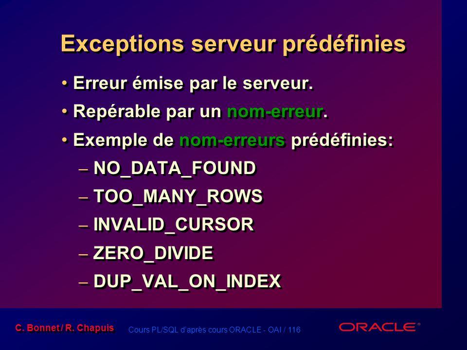 Exceptions serveur prédéfinies