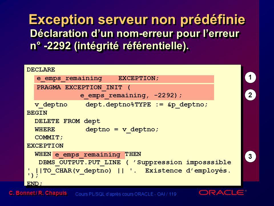 Exception serveur non prédéfinie