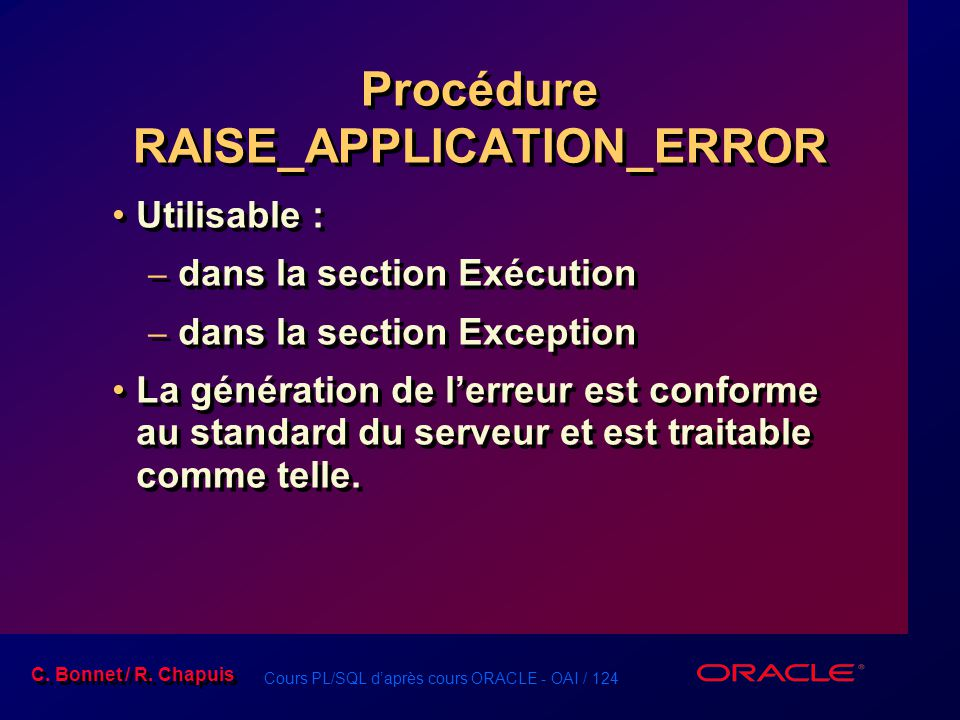 Procédure RAISE_APPLICATION_ERROR