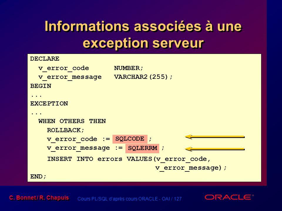 Informations associées à une exception serveur