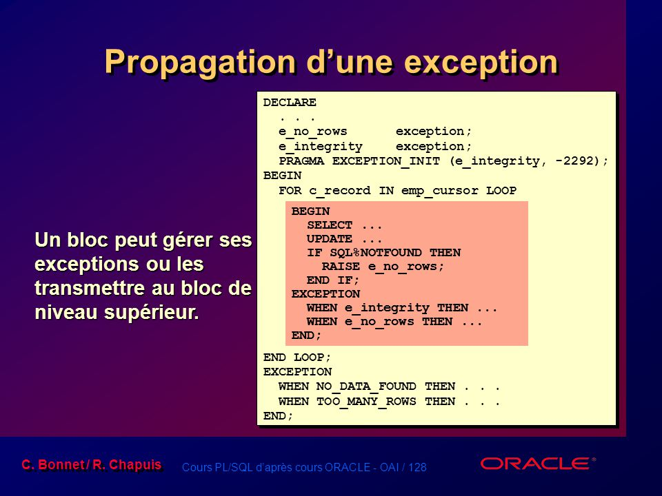 Propagation d'une exception
