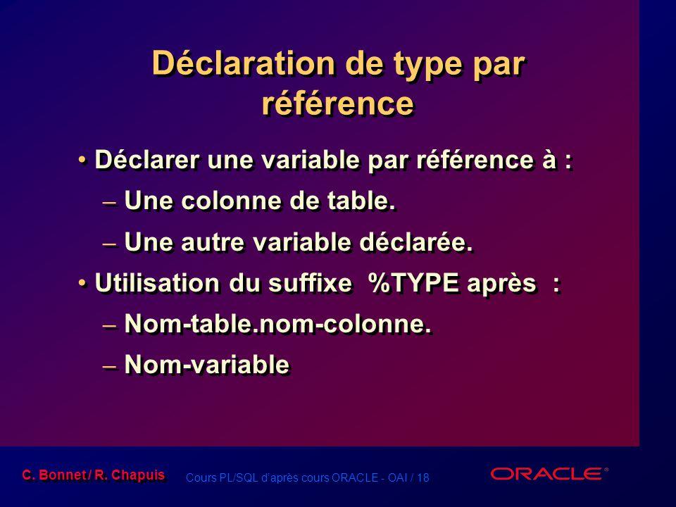 Déclaration de type par référence