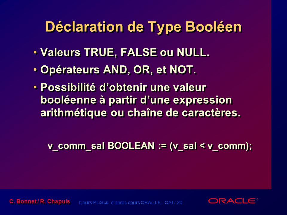 Déclaration de Type Booléen