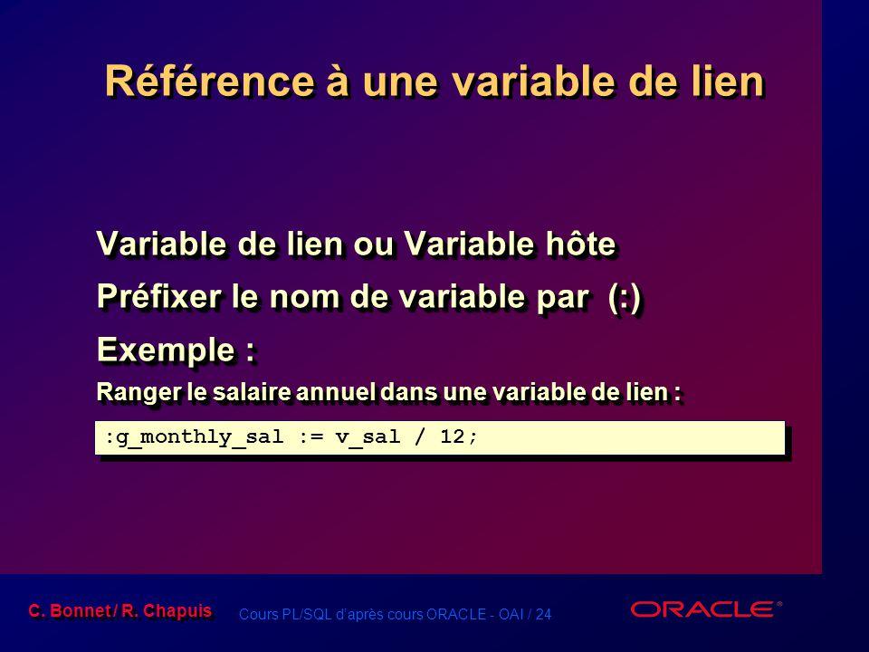 Référence à une variable de lien