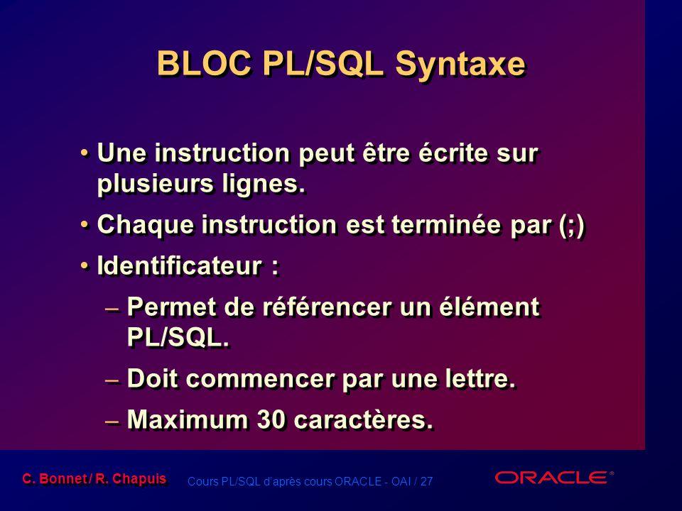 BLOC PL/SQL Syntaxe Une instruction peut être écrite sur plusieurs lignes. Chaque instruction est terminée par (;)