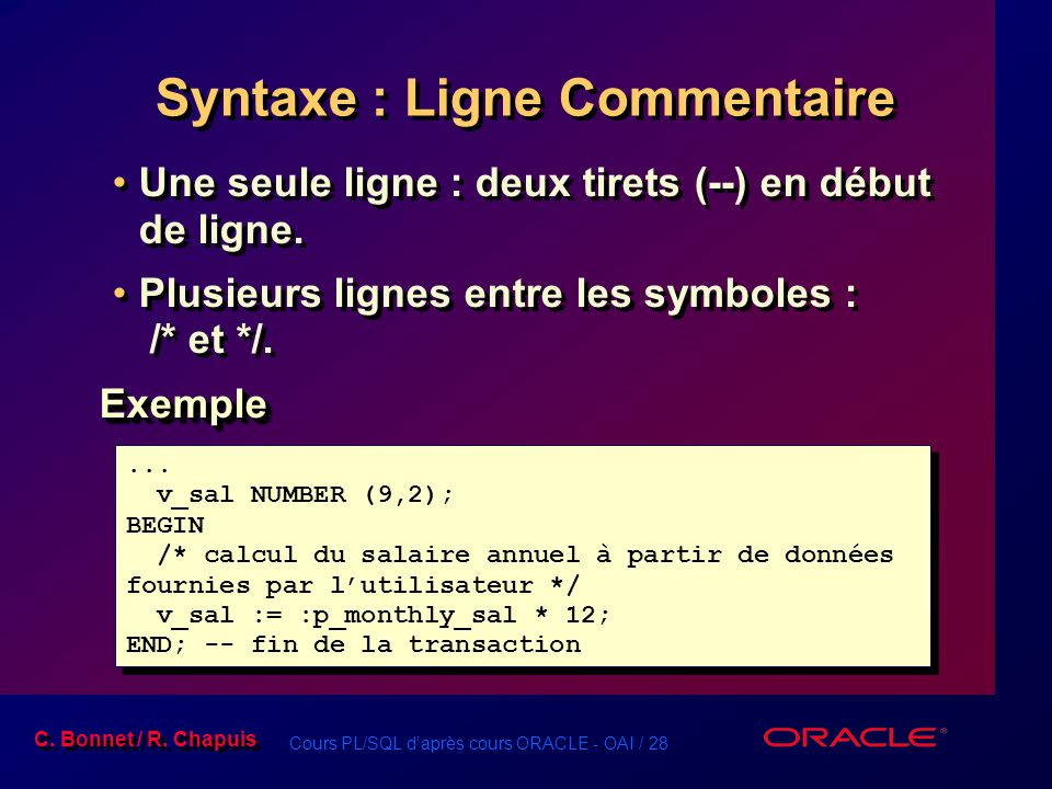 Syntaxe : Ligne Commentaire