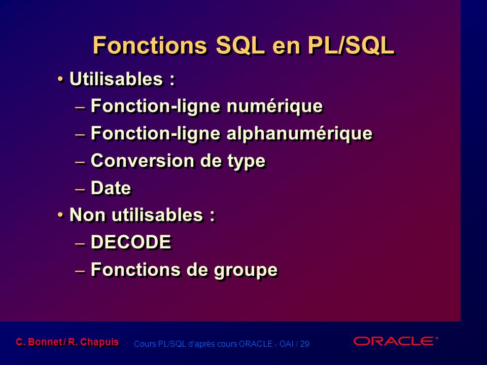 Fonctions SQL en PL/SQL