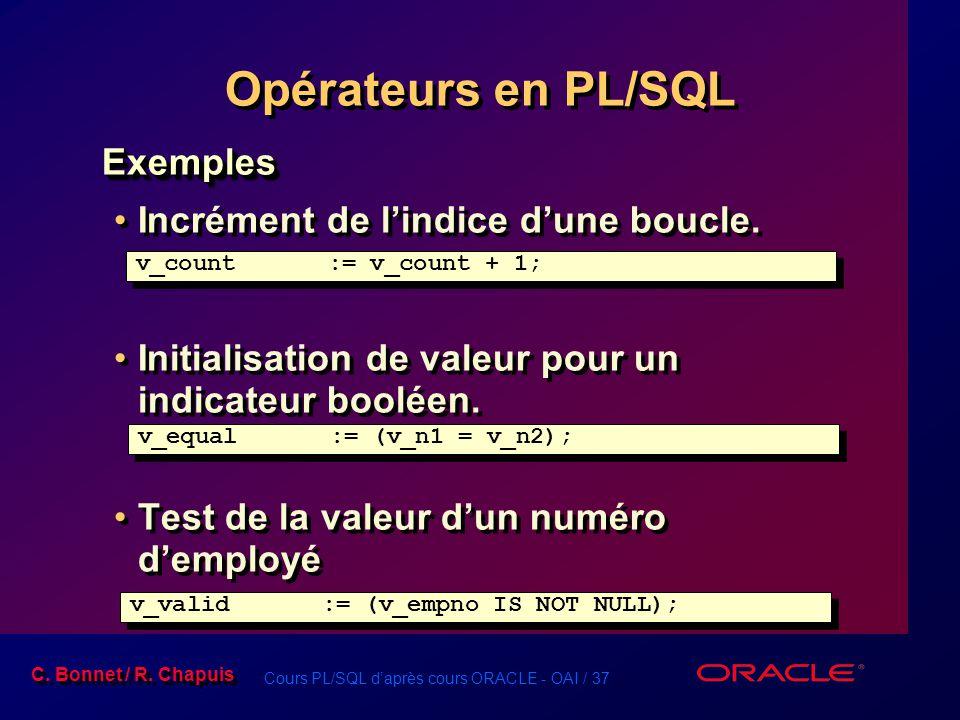 Opérateurs en PL/SQL Exemples Incrément de l'indice d'une boucle.