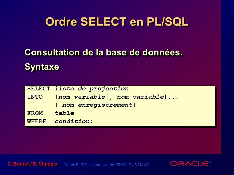 Ordre SELECT en PL/SQL Consultation de la base de données. Syntaxe
