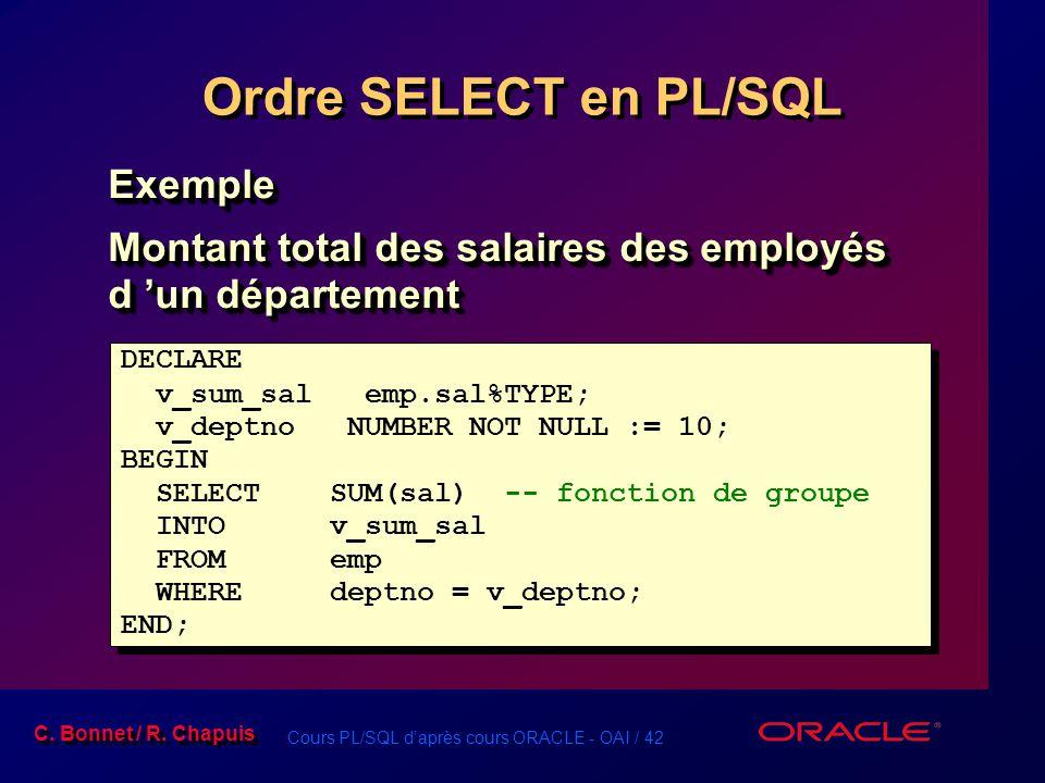 Ordre SELECT en PL/SQL Exemple