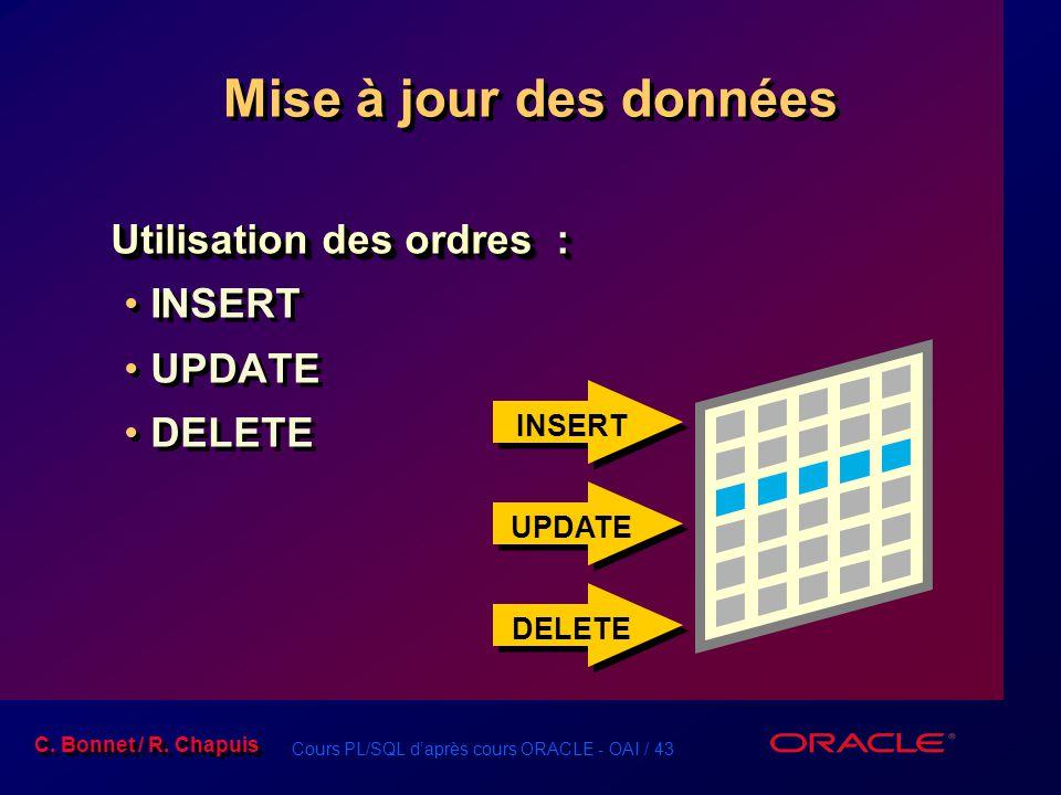 Mise à jour des données Utilisation des ordres : INSERT UPDATE DELETE