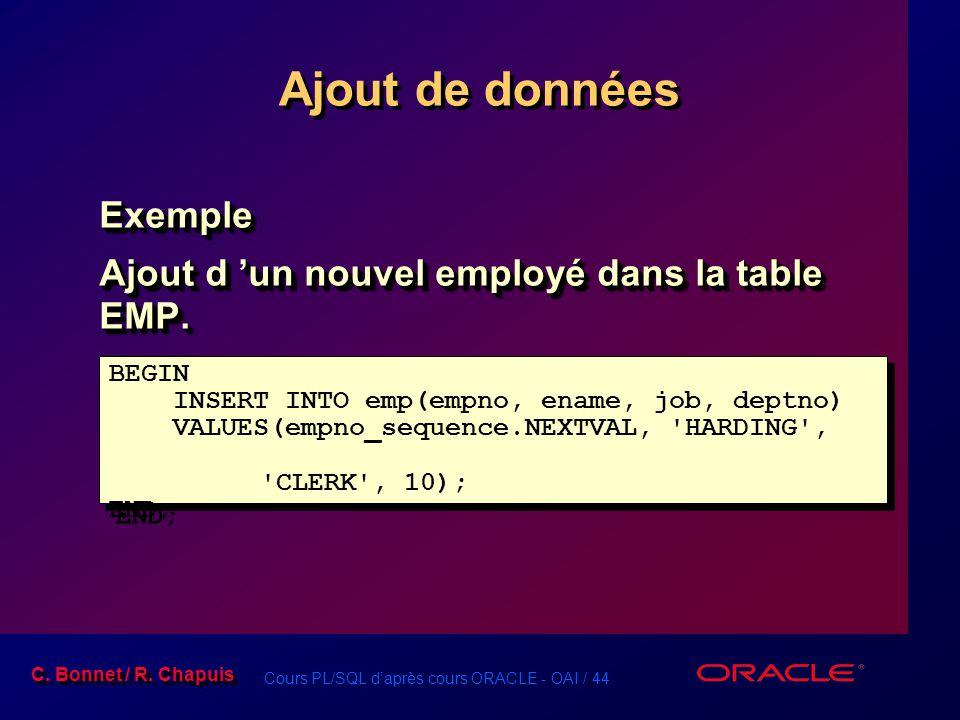 Ajout de données Exemple Ajout d 'un nouvel employé dans la table EMP.