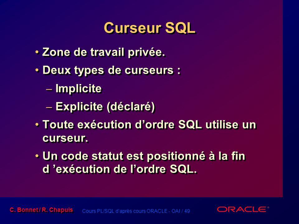 Curseur SQL Zone de travail privée. Deux types de curseurs : Implicite