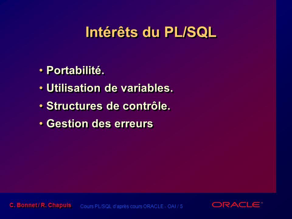 Intérêts du PL/SQL Portabilité. Utilisation de variables.