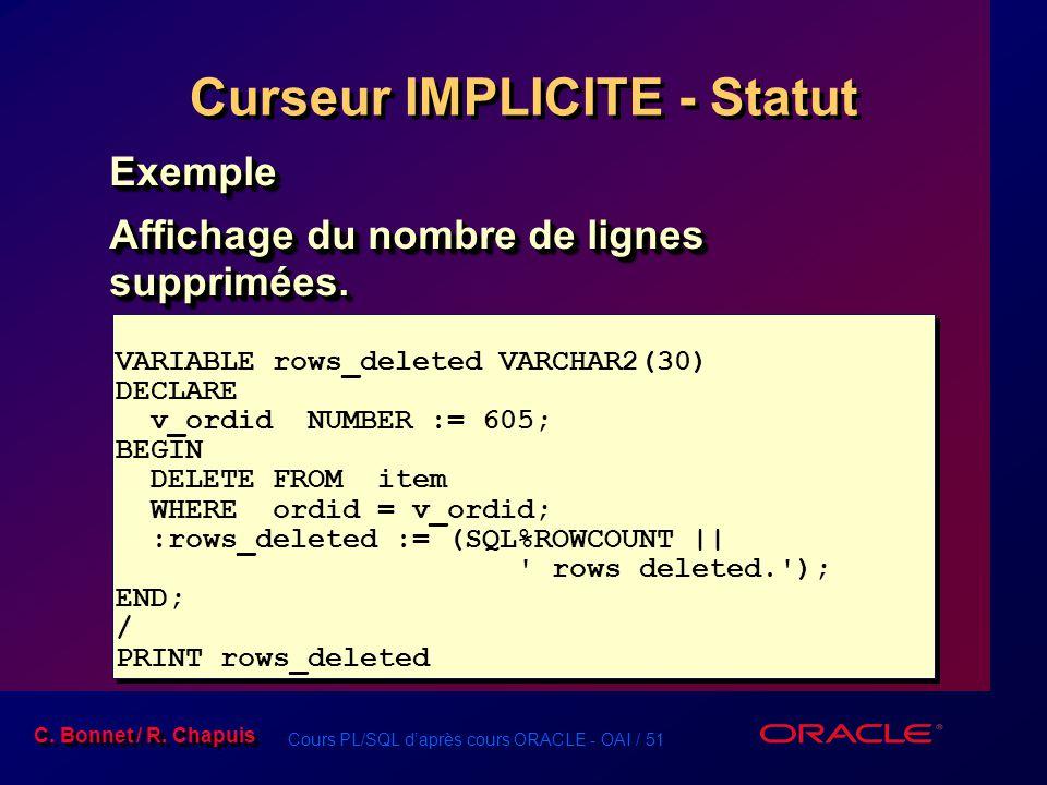 Curseur IMPLICITE - Statut