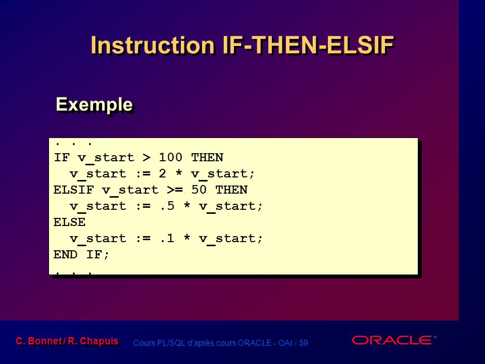 Instruction IF-THEN-ELSIF