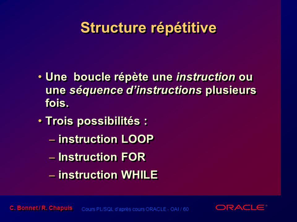 Structure répétitive Une boucle répète une instruction ou une séquence d'instructions plusieurs fois.
