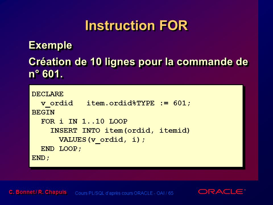 Instruction FOR Exemple