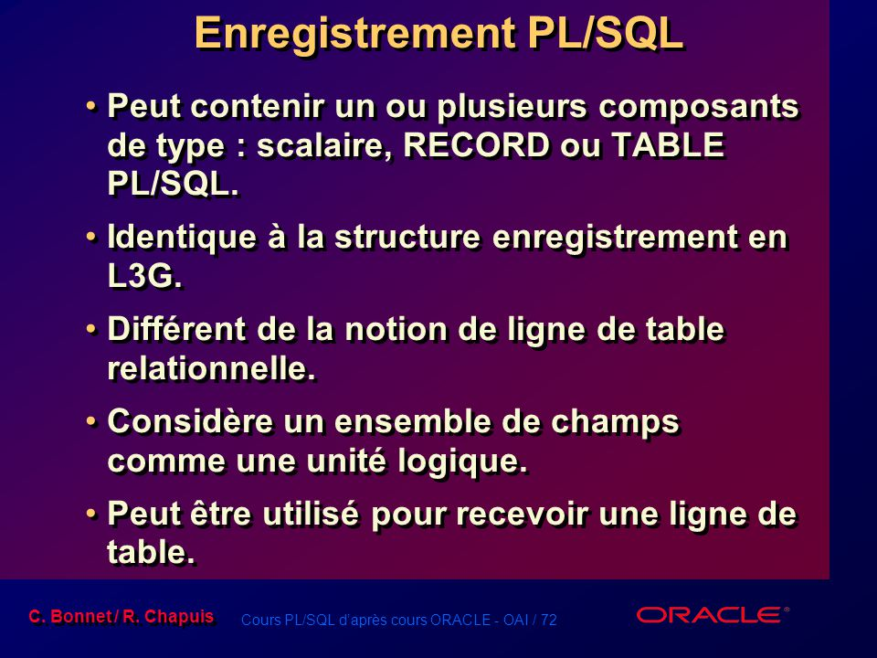 Enregistrement PL/SQL