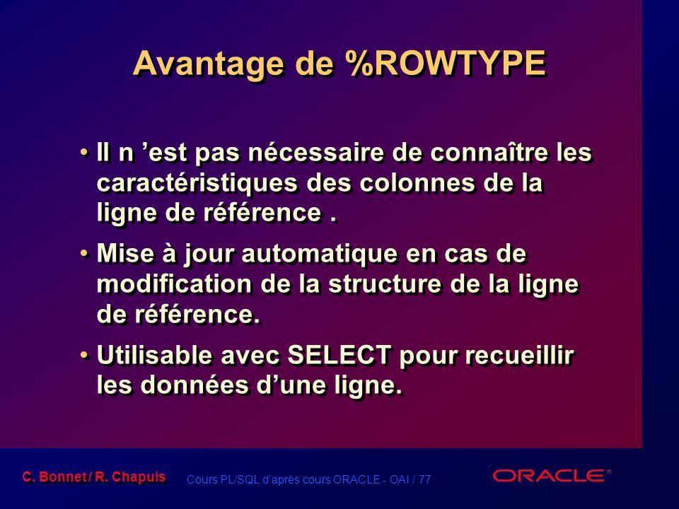 Avantage de %ROWTYPE Il n 'est pas nécessaire de connaître les caractéristiques des colonnes de la ligne de référence .