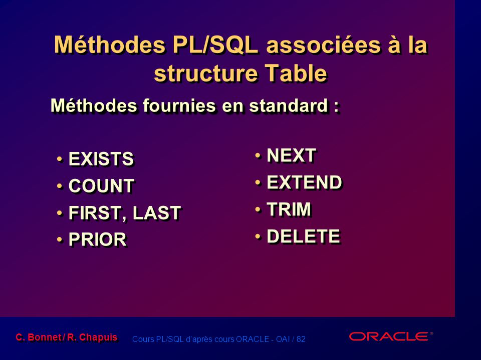 Méthodes PL/SQL associées à la structure Table