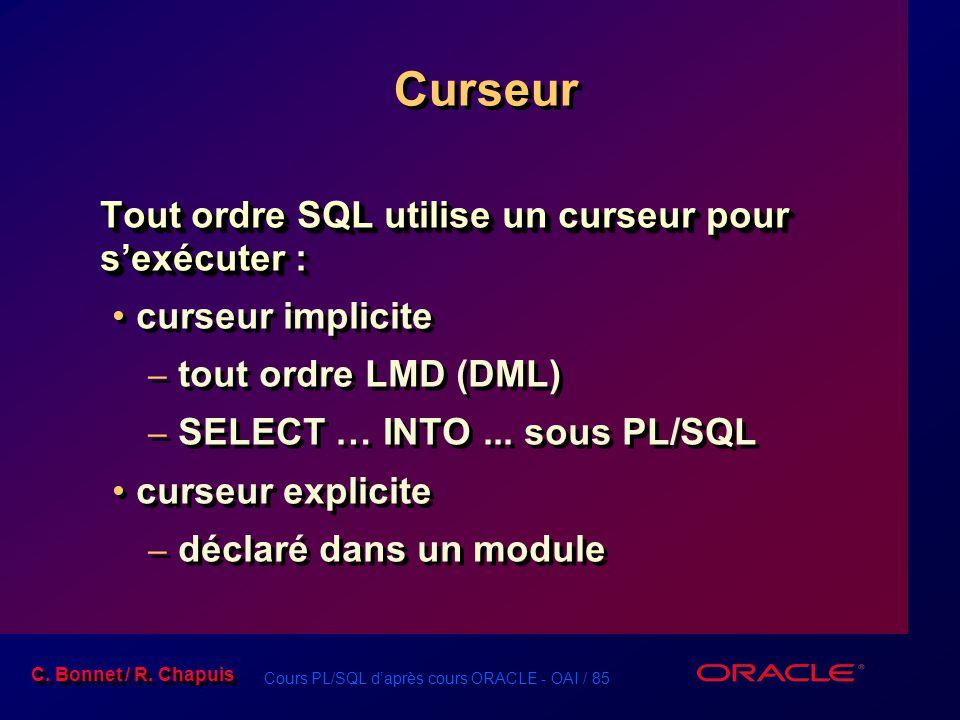 Curseur Tout ordre SQL utilise un curseur pour s'exécuter :