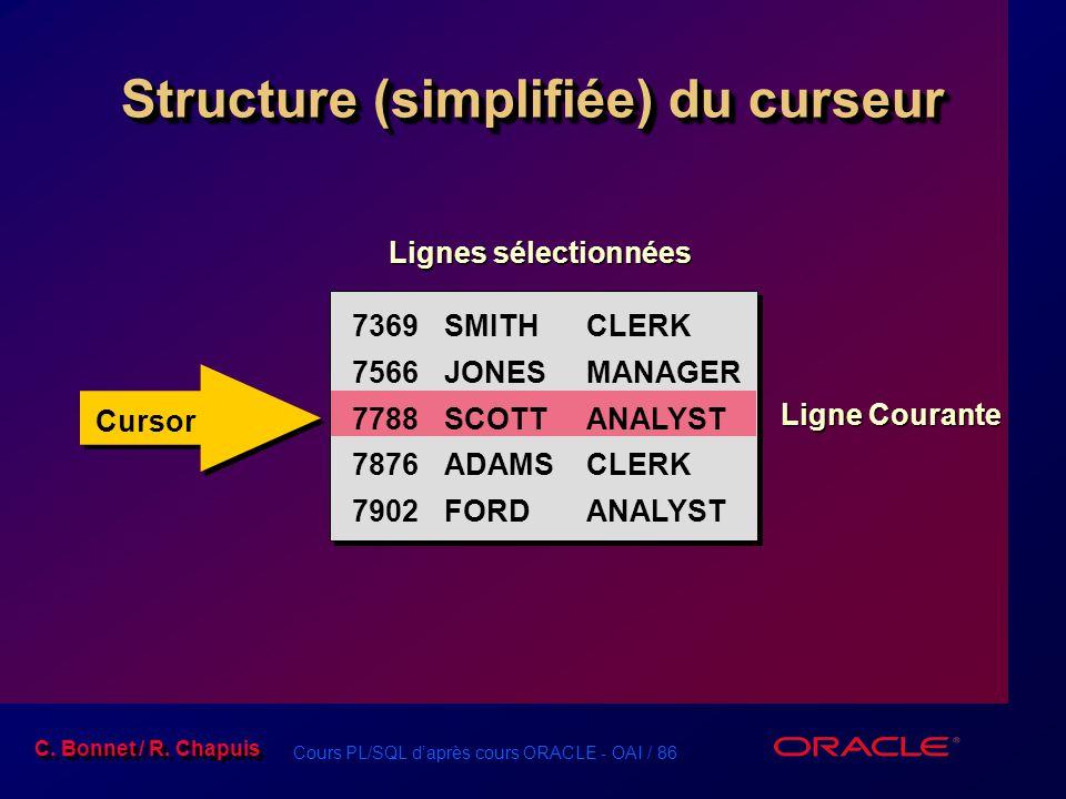 Structure (simplifiée) du curseur