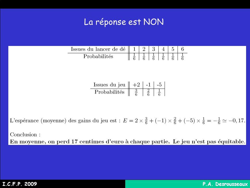 La réponse est NON I.C.F.P. 2009 P.A. Desrousseaux